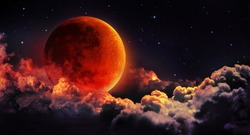 moon eclipse - planet red blood with clouds - moon map element  furnished by NASA
