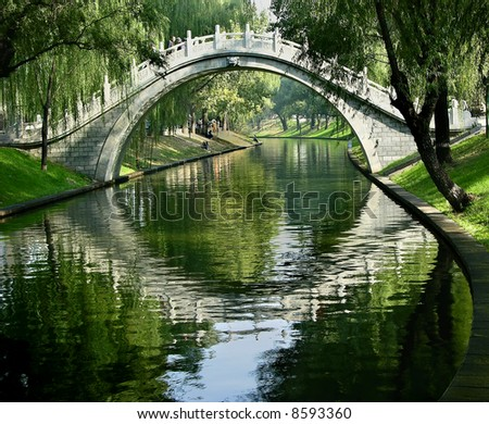 Moon Gate, Purple Bamboo Park, Beijing, China - stock photo