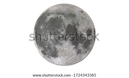 Moon high resolution 3d rendering illustration science astronomy, detailed lunar surface, white background