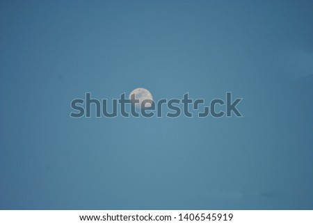 Moon in clear daylight and clear sky