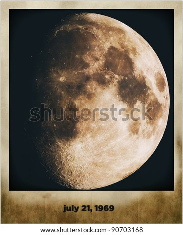 moon in old grunge picture