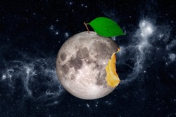 Moon in the form of a bitten apple