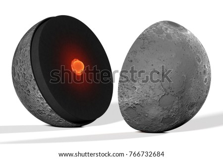 Moon, internal structure is a realistic reconstruction in rendering 3D for illustration, it is based on the modern hypotheses of planetologists