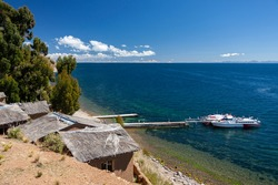Moon Island (Isla de la Luna) and Lake Titicaca in Bolivia, South America.