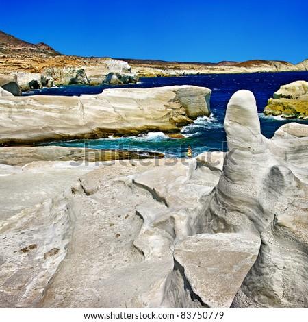 moon landscape - mineral formations on Milos island, Greek series