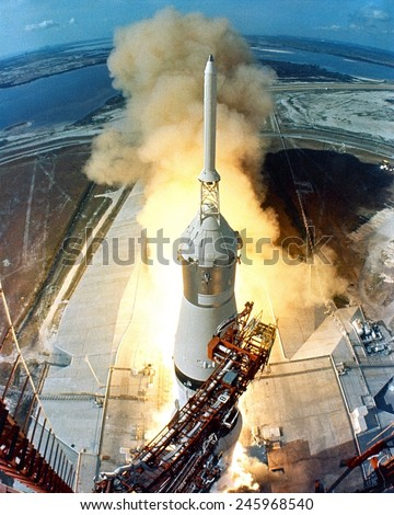 Moon launch. The liftoff of Apollo 11 on a Saturn V missile starts the Moon mission of astronauts Neil Armstrong, Michael Collins and Edwin Aldrin. July 16, 1969.