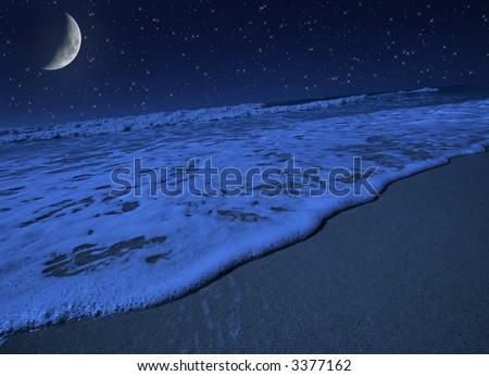 Moon light harmony on tropical beach