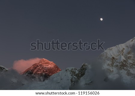 Moon Moon over Mount Everest (the highest peak in the world 8848 m) and Nuptse (7864 m) at sunset (view from Kala Patthar) - Nepal, Himalatas