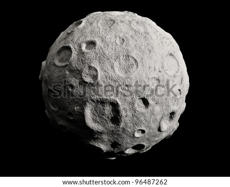 Moon on a black background. Lunar craters and bumps. 3D image of the full moon. Isolated.
