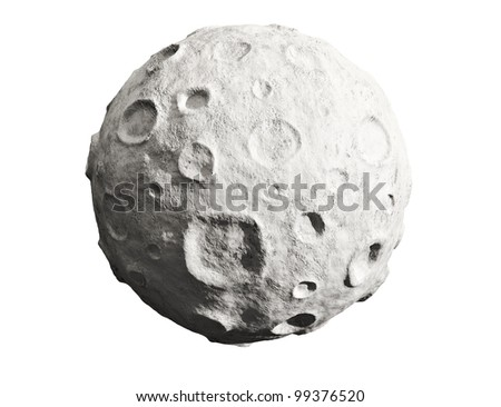 Moon on a white background. Lunar craters and bumps. 3D image of the full moon. Isolated.