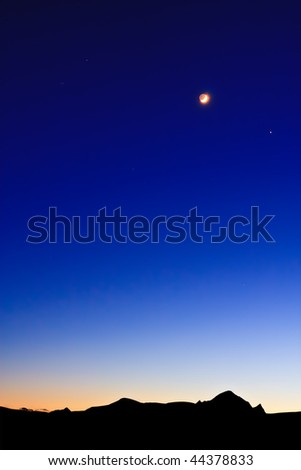 Moon on the Dark Blue Sky