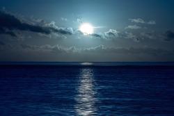 Moon on the sea.