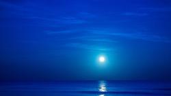 Moon over caribbean sea in Playa Del Carmen, Mexico