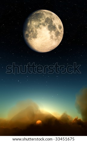 Moon Over Clouds #33451675