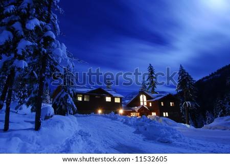 Moon over Lake Kachess cabin