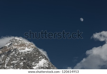 Moon over Mt. Everest at sunset (view from Kala Patthar) - Everest region, Nepal, Himalayas
