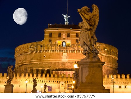 Moon over st Angelo fortress in Rome - stock photo