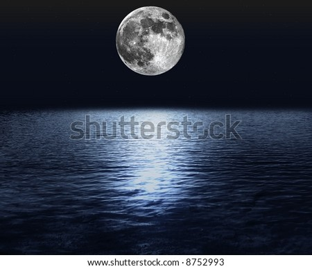 moon over the ocean - stock photo
