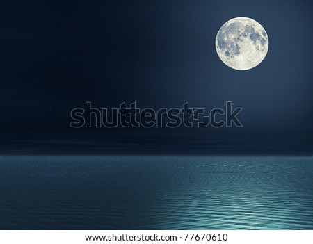 Moon over the sea - stock photo