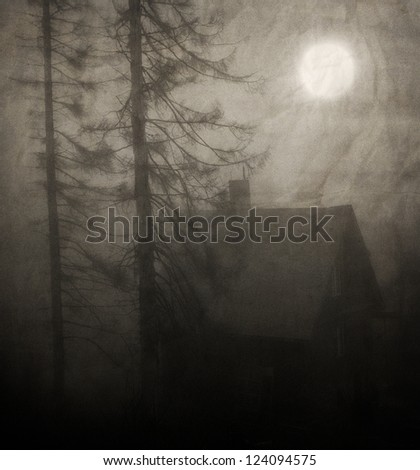 moon over the spooky old house in the forest - textured vintage background