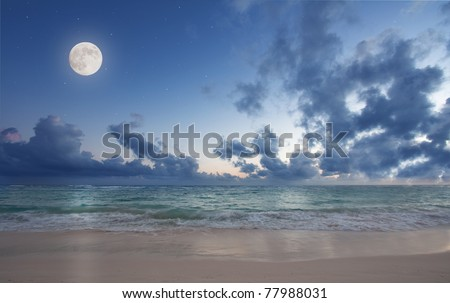 Moon over tropical beach - stock photo