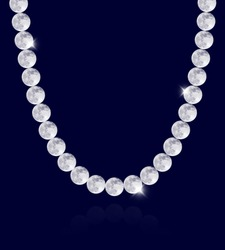 Moon Pearl Garland Necklace Image, on blue background