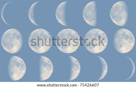 Moon Phases - day-time - stock photo