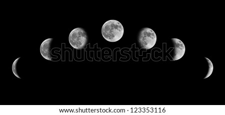 Moon phases from crescent to half to full
