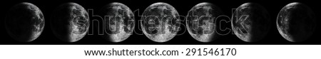 Moon phases set. Phases of the moon set. Time lapse of the lunar cycle phases illustration. Different silhouettes of the moon isolated on black.