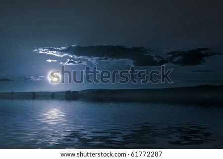 moon reflection in the lake