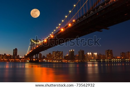 Moon rises over Manhattan Bridge. New York City