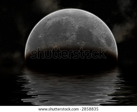 Moon Rising above Water