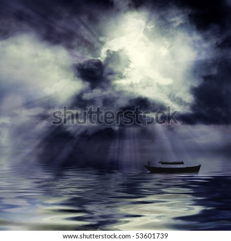 Moon shining through dark clouds over water and boat, atmospheric background - stock photo