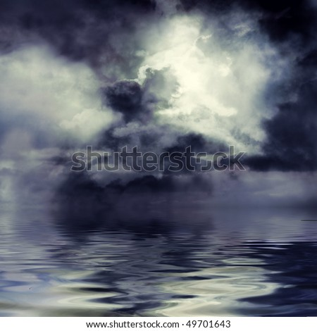 Moon shining through dark clouds over water, atmospheric background