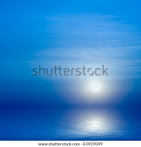 Moon, sky and blue sea - stock photo