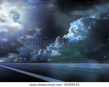 Moon  sky  clouds  road   fog