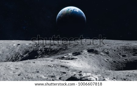 Moon surface and Earth on the horizon. Space art fantasy. Black and white. Elements of this image furnished by NASA