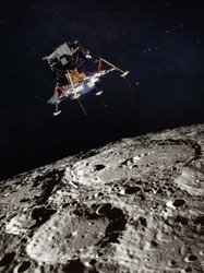 Moon surface and lunar module. Black background. Apollo space program. Elements of this image furnished by NASA.