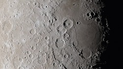 Moon surface close up. Craters and furrows on the surface of the earth's satellite. (Elements of this image furnished by NASA)