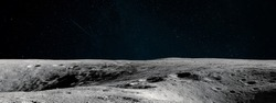 Moon surface. Dark background. Space panorama. Artemis mission. Elements of this image furnished by NASA