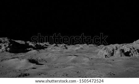 Moon surface, lunar landscape (3d space illustration)