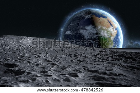 moon surface. The space view of the planet earth. 3d rendering.