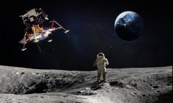 Moon surface with astronaut and landing space craft. Planet Earth on the background. Apollo space program. Elements of this image furnished by NASA.