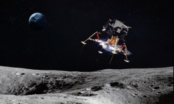Moon surface with space craft. Planet Earth on the background. Apollo space program. Elements of this image furnished by NASA.