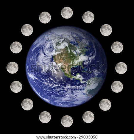 Moon travelling and circumnavigating the planet earth (nasa imagery)