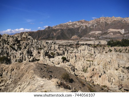 Moon Valley geological formations, La Paz cliffs, Bolivia #744056107