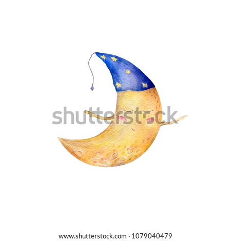 Stock Photo Moon watercolor clip art yellow moon funny character fly painting illustration half moon sleeping moon in hat geometric on white background