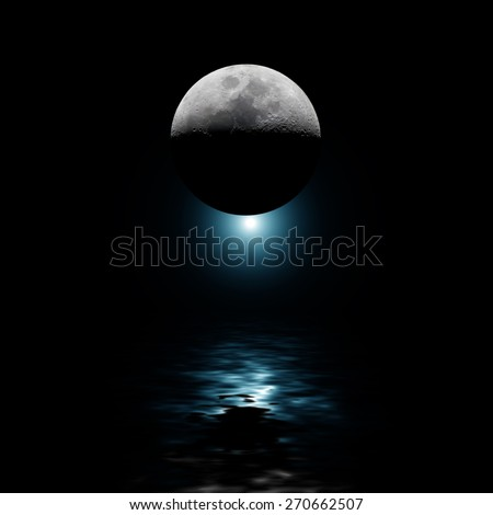 Moon with blue star reflecting on water at night. No NASA elements used #270662507