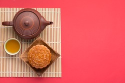 Mooncake and tea,Chinese mid autumn festival food. angle view from above