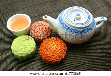 mooncakes with a tea pot and tea cup